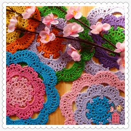 "Wholesale China Hot Product - Wholesale- 2016 fashion china latest products 12 pcs 6"" colored kawaii lace round cotton felt for hot on the table as kitchen accessories"