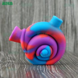 Wholesale Novelty Wholesale Pipes - Novelty Snail Design Mini Silicon Snail Filter for Tobacco Smoke Small Travel Water Pipe Silicone blunt Bong Joint bubbler