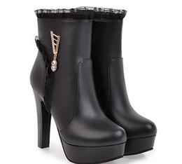 Botas de tacones mujer desnuda online-Versión coreana del áspero con plataforma impermeable, botas blancas y botas desnudas de mujer, botas de tacón alto de moda 2017, otoño y