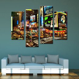 Wholesale Canvas Wall Art New York - 4 Piece Canvas Paintings New York Times Square Painting Pictures Prints On Canvas City Night Scene Wall Art For Home Modern Decoration