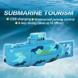 Wholesale Remote Control Rc Submarines - Wholesale- 6 Channels Mini RC Submarine For Kids 0.5M Underwater 3.7v 120mah Lipo Battery Remote Control Model Toy