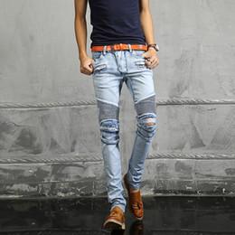 Wholesale Dark Blue Skinny Jeans - NWT Paris Men's Fashion Runway Biker Slim Stretch Acid Light Blue Distressed Washed Jeans Size28-38 (#917)