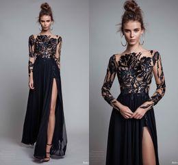 Wholesale Chiffon Evening Dresse - Elegant Black Lace Applique Evening Dresses With Illusion Long Sleeve 2017 Chiffon Floor Length Side Split Prom Dresses Formal Party Dresse