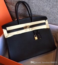 Wholesale Camel Hand Bag - Women Luxury handmade 100% Hand Stitching Togo Original Leather Handbags High Quality Classic 35CM Famous H Clemence Brand Bags