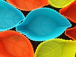 Wholesale Silicone Leaf Mold - 12pcs lot New 8cm leaf-shaped cake mold Muffin Silicone cake Mould Cake Bakeware Maker Mold Tray Baking Cup Liner Baking Molds