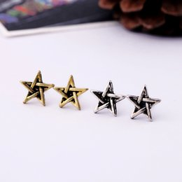 Wholesale Cheap Vintage Stud Earrings - 1.1cm small david star antique vintage earrings for women 2016 new cheap wholesale cute ear rings