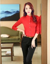 Wholesale Uniform Work Shirts - Wholesale-Fashion Pantsuits Women Work Suits with 2 Piece Pant and Tops Sets Red Blouses & Shirts Ladies Office Uniform Style OL Clothes