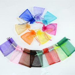 Wholesale Promotion Drawstring - Multicolor Pure color gauze drawstring bag 40x30cm perspective tube gifts bag for Holloween Christmas festivals party sale promotion packing