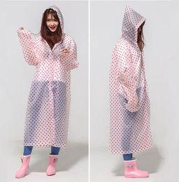 Wholesale Raincoats For Adults - 60pcs EVA Dot Environment Safety Raincoat With Hood For Men And Women Outdoor Rainwear Waterproof Poncho Over Knee Length Rain Coat ZA0485