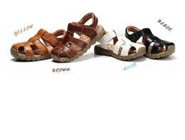 Wholesale Muscle Beach - 2016 New 4 Designs Boys Soft Leather Sandals Baby Boys Summer Prewalker Soft Sole Genuine Leather Beach Sandals Size 21-36