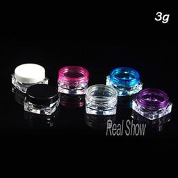 2019 porzellan weiße kappe Großverkauf in China 50pcs / lot, kosmetisches Glas, transparente / weiße / rote / blaue Kappenprobenflaschen, 3g Minisahneflasche günstig porzellan weiße kappe