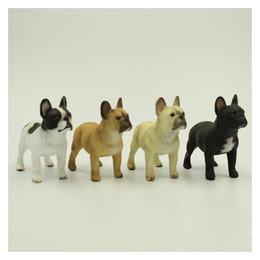 Wholesale Craft Ideas - France Bulldog Simulation Dog Figurine Crafts Ideas 4 Set Color Style Decoration Figurine Crafts with Resinous for Home Decoration