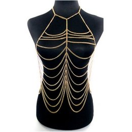 Wholesale Sexy Cool Jewelry - M176 Make You Sexy Golden Body Chain jewelry Necklaces for women!Fashion Super Cool lady body chains Exaggerated Highlights body chains