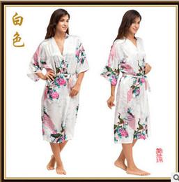 Wholesale Ladies Long Sleeve Night Gown - Wholesale-Womens Chinese Kimono Long Satin Robe faux Silk Night Gown Ladies Gowns Long Satin Dressing Gown Sleepwear Nightwear NJY2