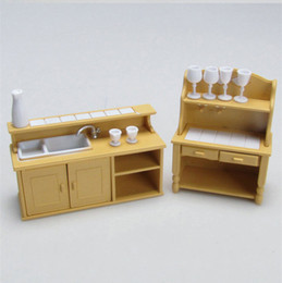 Wholesale Plastic Cupboards - Wholesale-1 12 Miniature Home Furniture Mini toy Sylvanian families Kitchen Room Set Dolls DollHouse cupboard Brinquedos Pretend play Toys