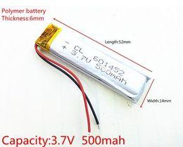 Wholesale Li Po Cell - 3.7V 500mAh Lithium Polymer LiPo Rechargeable Battery cells 601452 li-po li ion power For Mp3 GPS mobile phone headphone recorder