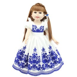 Wholesale China Dolls Clothes - Baby Toys Lovely 18inch Lifelike Baby Dolls Reborn Bebe 45CM Full Silicone Body American Girls Princess Doll China Style Clothes