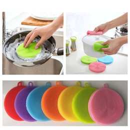 Wholesale Kitchen Scouring Pads - 7 Colors Multi-function Silicone Pot Dish Washing Cleaning Brush Antibacterial Scouring Pad Kitchen Scrubber Fruit Vegetable Clean