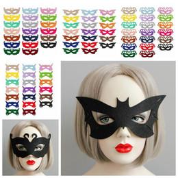 Wholesale Princess Masquerade Masks - 80 Colors Venetian Unisex Masquerade Venetian Mask Cosplay Party Props Halloween Party Mask Swan Princess Half Felt Mask CCA6950 100pcs