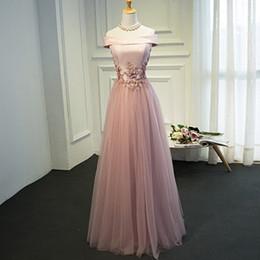 vestidos de quinceañera Rebajas Real Photo Vintage rosa o vino rojo tafetán con tul fuera del hombro con cordones apliques una línea de manga corta vestidos largos de noche de una sola pieza