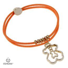 Wholesale Elastic Charms - 6 style lovely bear charm bracelets Elastic gold bear charms women or children fashion jewerlry bracelets