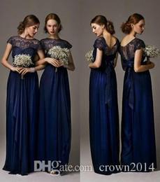 Wholesale Navy Bow Dress - 2017 Navy Blue Bridesmaid Dresses Sheer Neckline Chiffon Lace Evening Dresses Plus Size Formal Dresses Short Sleeve Prom Dress