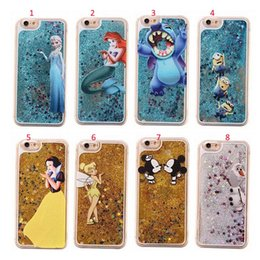 Wholesale Iphone 5s Cases Minion - Flowing Liquid Cover For iPhone 5 5s SE 6 6s plus hard phone cases Cartoon Princess Mermaid Mickey Minion Stitch Glitter Star