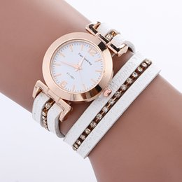 Wholesale Belt Buckle Bracelet Stones - Round belt letter female diamond bracelet table decoration fashion leisure fashion watch