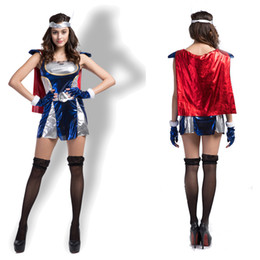 Wholesale Marvel Dresses - Thor Women Version Style Clothes Super Heroes Halloween Costumes Marvel Comics Cosplay Carnival Theme Costume Dress Headwear Gloves