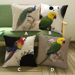 Wholesale Parrot Cushions Covers - Linen velvet Fashion Art peacock parrot peach flower pattern printed pillow Sofa decorative home cushion cover 45*45cm #40