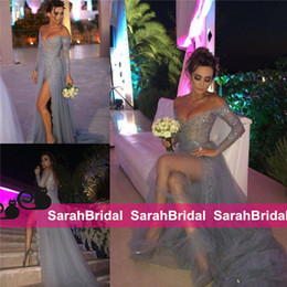 Wholesale Modern Art Nude Girls - 2016 Sexy Grey and Nude Long Prom Dresses Sparkly 2k16 Coupon Girls Fashion High Split Dreamy Tulle Evening Party Gowns Long Sleeve Wear