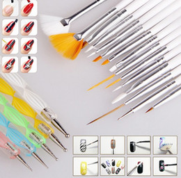 Wholesale Pointed Nails - 20 Pcs Nail Suit Art Brush And Point Drill Pen Salon Design Set Dotting Painting Drawing Polish Brushes Tools