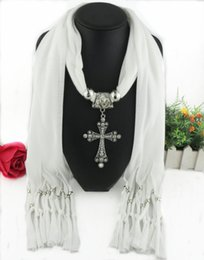 Wholesale Acrylic Circle Scarves - Latest Cheap Fashion Ladies Scarf Direct Factory Clear Rhinestones Cross Pendant Scarves Jewelry Classic Cross Scarves Tassel