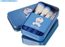 Wholesale Mini Nylon Brush - Doraemon Sweet cute 7 Pcs Mini Makeup brush Set cosmetics kit make up brush Kit with Metal box D646