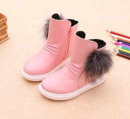 Wholesale Korean Shoes Flat Boots - 2017 autumn and winter new girls boots wild Korean version of plush children's boots in the big princess boots student shoes