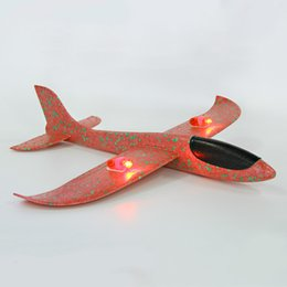 Wholesale Toy Planes Fly - 48Cm EPP Foam Hand Tossed Magic Toys Mixed Color Plane Kids Toy Flying Model Glow Lights Planes Toy