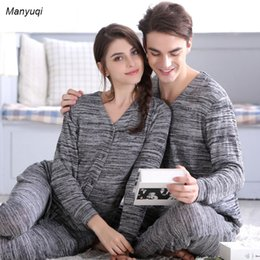 Wholesale Cardigan Pajamas - Wholesale- Couple pajama for women and man cardigan gray pajamas set knit V-neck tops homewear winter warm pajamas suit home suit women