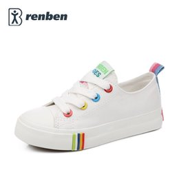 Wholesale Candies Girls Shoes - Kids Shoes For Girl Children canvas shoes boys Candy color laces 2017 Spring Autumn white sneakers children single shoes girls