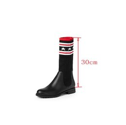 Wholesale Cat Flat Heels - Luxury Brand Socks Boots Women Over Boots Autumn Winter Knitted Shoes Long Thigh High Boots cat Elastic Slim Size35-43