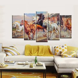 Wholesale Horse Art Canvas Set - 5pcs set Unframed Horses Running Oil Painting Style On Canvas Wall Art Painting Animal Art Picture For Living Room Decor