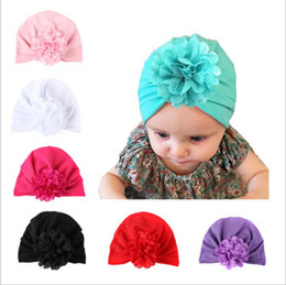 Wholesale Toddler Fashion Hats - Baby Hats Bohemiah Flower Caps Girls Knot India Turban Kids Fashion Head Wraps Toddler Winter Beanie Xmas Headwear Photography Props B2712