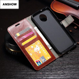 Wholesale Retro Book Covers - Retro PU Crazy Horse Leather Wallet Case For Moto G5S Plus E4 Plus Frame Photo Card Slot ID Stand Flip Cover Book Purse Pouch