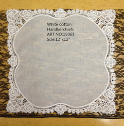"Wholesale White Hankies - Home Textile Fashion Ladies Handkerchief 12Pcs lot 12X12""White Soft 100%cotton Wedding Handkerchief Embroidered Roses Lace Hankies For Bride"