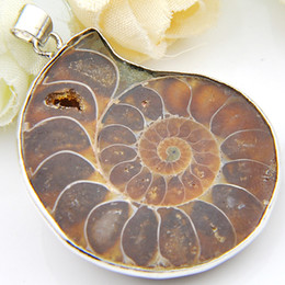 Wholesale silver ammonite - Wholesale 10 Pieces 1LOT New Arrive Natural Ammonite Fossil Gem 925 Sterling Silver USA Israel Wedding Engagement Pendants Party Jewelry