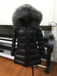 Wholesale Fox Fur Collar Coat Long - M27 Brand women Down jacket winter Long coat thickening real fox fur collar hood down Parkas Black  Red color