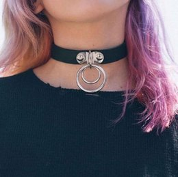Wholesale Circle Necklace Mens - 1pc Women Girls Mens Punk Goth PU Leather Two Circle Ring Collar Choker Funky Necklace Charms Jewelry