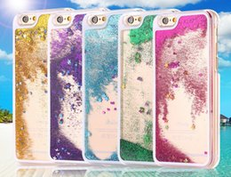 Wholesale Iphone 4s Hard Glitter Case - For Iphone 4 4S 5 5S SE 5SE 5C 6 6S Magical liquid Starry shower Star Heart Glitter Hard Crystal clear Transparent cover case 30PCS 50PCS