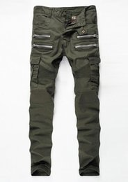 Wholesale Flying Bike - New Army Green Bike Jeans Men's Fashion Pleated Stretch Denim Skinny Jeans Zipper Decoration Slim Patchwork Pants Long Trousers