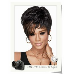 Wholesale Bang Curly Hair - African Women Short Curly Black Natural Wigs High Tempreture Resistant Synthetic Hair Women Short Blonde Inclined Bang Cosplay Wigs