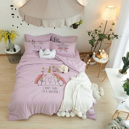 Wholesale King Comforter Sets For Cheap - Cute Cartoon Unicorn Bed Sets Cheap Polyester Purple Duvet Cover Sets for Teenagers adults Comfortable and Soft Bedding Set